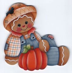 HP GINGERBREAD Fall Pumpkin FRIDGE MAGNET Handpainted by stonehouse28