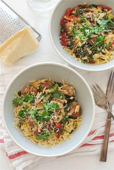 Orzo with Collard Greens, Sausage Meatballs and Sundried Tomatoes / Bev Cooks