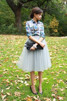 An unexpected but cute combo of plaid and tulle.