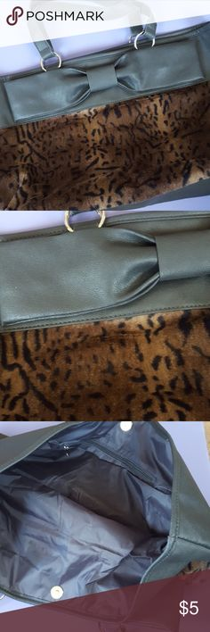Simple tote bag Never used. Soft faux fur on the front with a large bow. Bags Totes