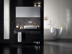 Minimalis White Bathtub in Black Bathroom Design Modern Bathrooms Interior, Contemporary Bathrooms, Bathroom Interior Design, Bathroom Design Inspiration, Bad Inspiration, Small Living Room Design, Living Room Designs, White Bathroom Furniture, Best Bathroom Designs