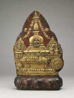 Bhimarata, Chariot Ritual, Nepal, 1776. Gilt copper; repoussé. H 17 1/2 x W 11 1/2 x D 3 3/4 in. Rubin Museum of Art, Gift of Shelley and Donald Rubin, C2006.66.63, HAR700095