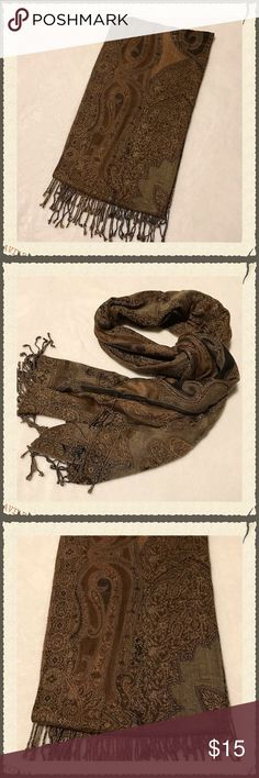 "Oversized Scarf/Wrap/Shawl Gorgeous oversized scarf, large enough to be worn as a wrap or shawl. Shades of brown and black. Brand and material are unknown as there is no tag attached. Measures 22x80"". Accessories Scarves & Wraps"