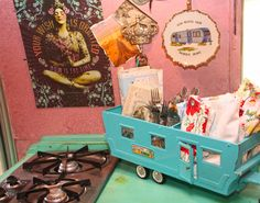our own JuNK Gypsy airstream, amie's and indie's little love shack! designed especially for mama and daughter. . .  VINTAGE toy trailer turned into KITCHEN caddy!