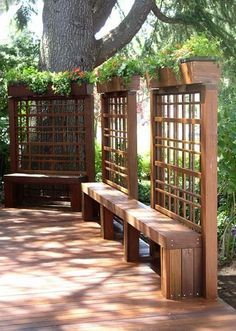 great way to create privacy, extra seating in a small space (could run a long table in front of the bench) and incorporate trailing plants.  Would be perfect for the back of the yard when we take down the shed.