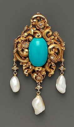 Brooch Made Of Gold, Turquoise, Diamonds And Pearls, Attributed To F. Walter Lawrence (Baltimore, Maryland 1864-1929) - American c.1905 | JV