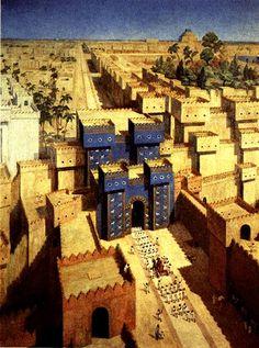 The Ishtar Gate of ancient Babylon (originally Babilim), Akkadia (modern-day…