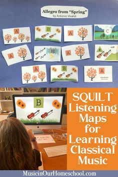 SQUILT Listening Maps to Guide Children in Understanding Classical Music - Music in Our Homeschool Preschool Music, Music Activities, Teaching Music, Vivaldi Spring, Homeschool Curriculum, Homeschooling, Elementary Music, Music Lessons, Music Education