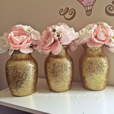 gold wedding centerpiece wedding decoration pink and gold first birthday wedding favor pink and gold baby shower vase rose gold vases Gold Wedding Centerpieces, Bridal Shower Centerpieces, Wedding Table Centerpieces, Wedding Flower Arrangements, Flower Centerpieces, Baby Shower Decorations, Wedding Decorations, Flower Vases, Centerpiece Ideas