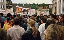 Spruchbänder auf der gemeinsamen Demonstration