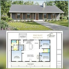 This is a 3 bedroom, 2 bath Plan. It is 1400 heated square feet and has a smaller covered porch option. Wall Section: A vertical cutaway view of the house from roof to foundation showing details of framing, construction, flooring and roofing. Metal House Plans, Pole Barn House Plans, Pole Barn Homes, Small House Plans, Shop House Plans, Barn Homes Floor Plans, New House Plans, Barn Home Plans, Simple Ranch House Plans