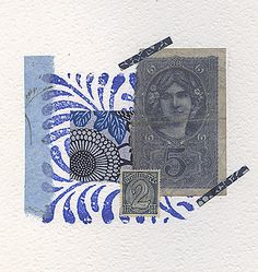 My collage for week 32 incorporates a few blue scraps and a rubber stamp. A piece of German money from Japanese hand made paper and a. Paper Collage Art, Collage Art Mixed Media, Paper Artwork, Collage Techniques, Art Textile, Art Journal Inspiration, Mail Art, Hand Designs, Altered Art