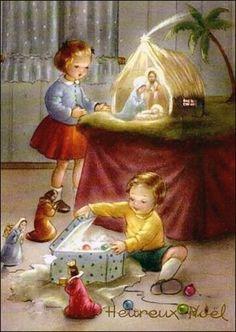 Love this old Christmas card. Vintage Christmas Images, Christmas Scenes, Old Fashioned Christmas, Antique Christmas, Christmas Nativity, Christmas Past, Retro Christmas, Vintage Holiday, Christmas Pictures