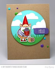 You Gnome Me, Flat-Bottom Clouds Die-namics, Grassy Edges Die-namics, Pierced Circle STAX Die-namics, Smart Phone Die-namics, You Gnome Me Die-namics - Amy Rysavy  #mftstamps