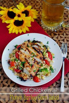 nice Grilled Chicken with Mom's Barley Corn Salad