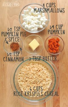 Pumpkin Spice Rice Krispie Treats - read recipe to bottom (cut pumpkin amount in 1/2).