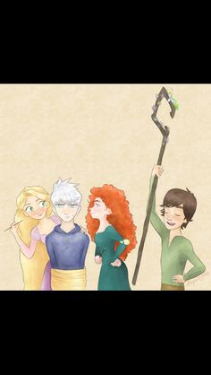 Rapunzel: Hang on, Jack! We're almost through. Merida: Now, PINK is definit'ly yer color, Frosty boy. Hiccup: I am the powerful Jack Frost, fairy of rainbows and flowers! Jack: ...Haddock, you will be the first to die. It was Rapunzel's idea and obviously Merida gladly took the chance to make fun of Jack. Hiccup is just being a dork. LOL! :D
