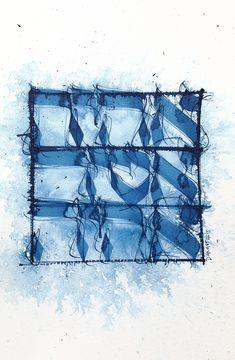 """Je serai qui je serai - BLEU CYAN (from <a href=""""http://www.script-sign.com/galerie/picture.php?/517/category/calligraphie_hebraique_sur_papier"""">Galerie de calligraphies hébraïques / hebrew calligraphy gallery</a>)"""