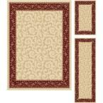 Elegance Beige 5 ft. x 7 ft. 3-Piece Rug Set
