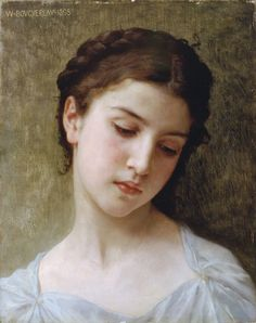 Head of a young girl - William-Alphonse Bouguereau