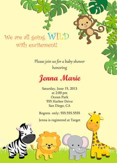 Items Similar To Jungle Baby Shower Invitation Safari Gender Reveal Neutral Free Thank You Card Front And Back Printable