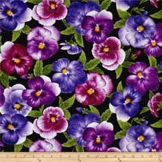 Timeless Treasures Viola Allover Pansies Black from @fabricdotcom  From Timeless Treasures, this violet floral inspired cotton print fabric features is perfect for creating quilts, home décor accents, craft projects and apparel. Colors include purple, white and green.