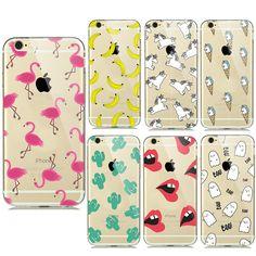 Neue summer obst banane einhorn transparent silikon weiche tpu fälle für iphone 7 plus 6 6 s 5 5 s se kaktus flamingo telefon abdeckungen
