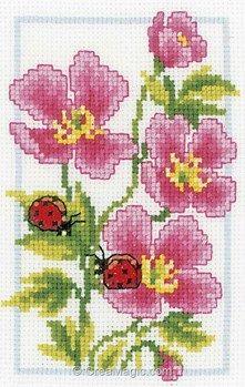 Mini broderie en kit 2 coccinelles et fleurs rose de Vervaco