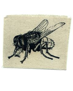 Insect sew on patch Fly patch housefly punk patch. $5.00, via Etsy.