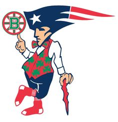 Might be pretty hard to do... could do 4 squares, each with the logo and Boston written in the middle