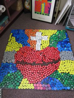 Martha Catholic School Artists: Here is our version of the bottle cap project that is all over the internet :) use fingerprints instead Catholic Crafts, Catholic Art, Religious Art, Church Crafts, School Auction Projects, Class Art Projects, Auction Ideas, Welding Projects, Corpus Christi