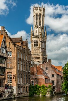 Bruges - Canal and Bell Tower by Steven Blackmon