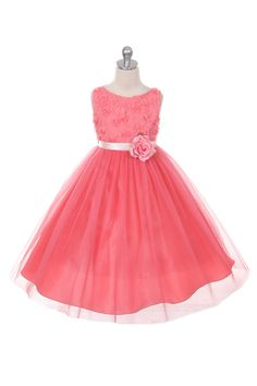 Flower Girl Dress Style 278 - CORAL Sleeveless Tulle Dress with Mesh Rolled Flowers