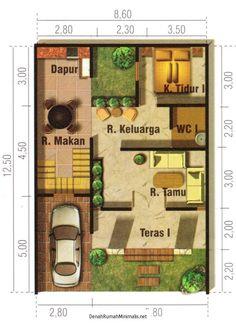 contoh denah rumah minimalis type 36 cantik pinterest