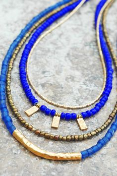 Blue & Gold Holiday Necklace: Holiday Inspired Long Blue Glass, Bronze and…