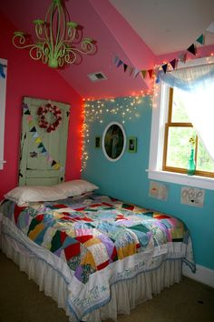 """I would love to do something similar in my room, but a bit more """"grown up"""" in terms of the colors used. Maybe maroon and teal?"""