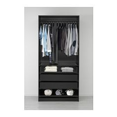 PAX Wardrobe, black-brown, Nexus black-brown - 100x60x236 cm - soft closing hinge - IKEA