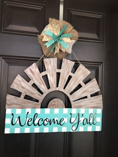 Excited to share the latest addition to my shop: Farmhouse Windmill Door Hanger Wooden Door Hangers, Wooden Doors, Teacher Door Hangers, Teacher Wreaths, Christmas Train, Diy Christmas, Windmill Decor, Barn Wood Crafts, Porch Decorating