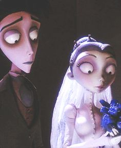 Corpse bride catching the flowers (animated GIF)