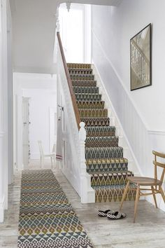 Fair Isle print stair runner by Margo Selby for Alternative Flooring Wall Carpet, Carpet Stairs, Bedroom Carpet, Pattern Carpet On Stairs, Fur Carpet, Black Carpet, Patterned Stair Carpet, Textured Carpet, Bohemian Style Home