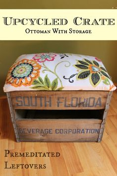 How to Make an Ottoman from a Crate - Use a crate and fabric to create an ottoman. The lifting lid on the DIY Ottoman allows you to use it for storage.