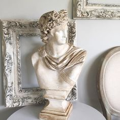 "David Roman Statue, Plaster Bust Figurine Office Mantle Decor Piece 24"" tall - Hallstrom Home - 1"