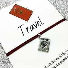 Friendship Bracelet: Passport Travel Bracelet, Adjustable Charm Bracelet, Best Friend Bracelet Gift, Stocking Filler, Unisex Cord Bracelet by PetitePolly on Etsy