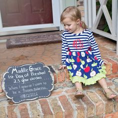 First day of preschool sign and the most perfect outfit from Kelly's Kids!