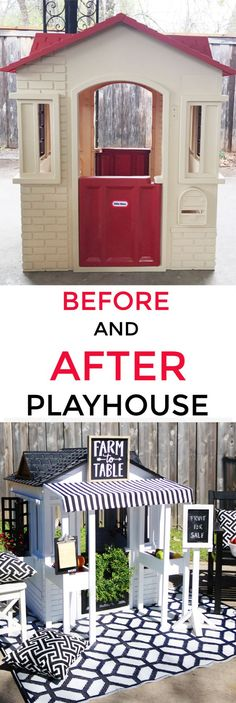 Looking for easy DIY playhouse ideas? Wait until you see this before and after. Create your own DIY playhouse this weekend. #playhouseplans #playhouseideas #playhousediy #playhousesforoutside #playroom #beforeandafter #beforeafter #before
