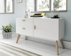 Contemporary White Sideboard with Oak Legs and Handles 1 Door and 2 Drawers