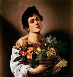 Boy with a Basket of Fruit, 1593–1594, oil on canvas, 67 cm × 53 cm (26 in × 21 in), Galleria Borghese, Rome