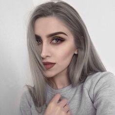 Ash Grey Hair, Ash Hair, Long Gray Hair, Change Hair Color, Cool Hair Color, New Hair Colors, Hairstylist Tattoos, Charcoal Hair, Casual Makeup