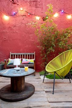 madera carrete de cable terraza vector ideas de decoración de silla de diseño amarillo banco de madera