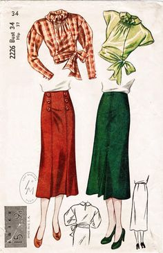 1930s vintage sewing pattern 30s skirt & blouse 2 piece set image 0 Vintage Dress Patterns, Vintage Skirt, Clothing Patterns, 1930s Fashion, Retro Fashion, Vintage Fashion, Modern Fashion, Victorian Fashion, Gothic Fashion